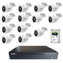 Kit de supraveghere cu 13 camere acvil ahd-ef30-4k, 8 mp, ir 20 m, 2.8 mm +dvr pentabrid acvil xvr5116fhd, 16 canale, 5 mp + hard disk seagate skyhawk st1000vx001, 1tb