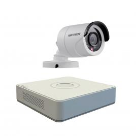 Kit format  din 1 camera exterior hikvision turbohd ds-2ce16c0t-irpf, 1 mp, ir 20 m, 2.8 mm + dvr turbo hd hikvision ds-7104hghi-f1, 4 canale, 1080 n