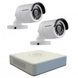 Kit format  din 2 camere exterior hikvision turbohd ds-2ce16c0t-irpf, 1 mp, ir 20 m, 2.8 mm + dvr turbo hd hikvision ds-7104hghi-f1, 4 canale, 1080 n