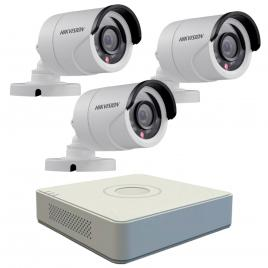 Kit format  din 3 camere exterior hikvision turbohd ds-2ce16c0t-irpf, 1 mp, ir 20 m, 2.8 mm + dvr turbo hd hikvision ds-7104hghi-f1, 4 canale, 1080 n