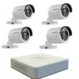 Kit format  din 4 camere exterior hikvision turbohd ds-2ce16c0t-irpf, 1 mp, ir 20 m, 2.8 mm + dvr turbo hd hikvision ds-7104hghi-f1, 4 canale, 1080 n