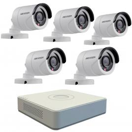 Kit format din  5 camere exterior hikvision turbohd ds-2ce16c0t-irpf, 1 mp, ir 20 m, 2.8 mm + dvr turbo hd hikvision 3.0 ds-7108hghi-f1, 8 canale, 1080 n