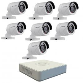 Kit format din  7 camere exterior hikvision turbohd ds-2ce16c0t-irpf, 1 mp, ir 20 m, 2.8 mm + dvr turbo hd hikvision 3.0 ds-7108hghi-f1, 8 canale, 1080 n