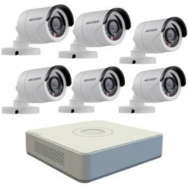 Kit format din cu 6 camere exterior hikvision turbohd ds-2ce16c0t-irpf, 1 mp, ir 20 m, 2.8 mm + dvr turbo hd hikvision 3.0 ds-7108hghi-f1, 8 canale, 1080 n
