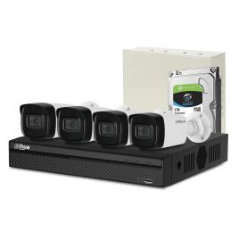 Sistem supraveghere exterior complet dahua dh-c4ext80-2mp-m, 4 camere, 2 mp, ir 80 m, microfon incorporat