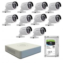 Kit de supraveghere cu 10 camere exterior hikvision turbohd ds-2ce16c0t-irpf, 1 mp, ir 20 m, 2.8 mm + dvr turbo hd hikvision ds-7116hghi-f1 n, 16 canale, 1080n+ hard disk seagate skyhawk st1000vx0