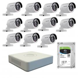 Kit de supraveghere cu 11 camere exterior hikvision turbohd ds-2ce16c0t-irpf, 1 mp, ir 20 m, 2.8 mm + dvr turbo hd hikvision ds-7116hghi-f1 n, 16 canale, 1080n+ hard disk seagate skyhawk st1000vx0