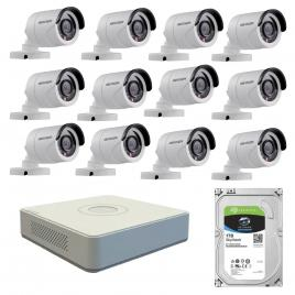 Kit de supraveghere cu 12 camere exterior hikvision turbohd ds-2ce16c0t-irpf, 1 mp, ir 20 m, 2.8 mm + dvr turbo hd hikvision ds-7116hghi-f1 n, 16 canale, 1080n+ hard disk seagate skyhawk st1000vx0
