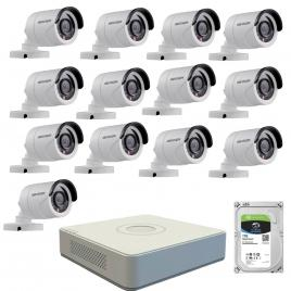 Kit de supraveghere cu 13 camere exterior hikvision turbohd ds-2ce16c0t-irpf, 1 mp, ir 20 m, 2.8 mm + dvr turbo hd hikvision ds-7116hghi-f1 n, 16 canale, 1080n+ hard disk seagate skyhawk st1000vx0