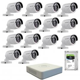 Kit de supraveghere cu 14 camere exterior hikvision turbohd ds-2ce16c0t-irpf, 1 mp, ir 20 m, 2.8 mm + dvr turbo hd hikvision ds-7116hghi-f1 n, 16 canale, 1080n+ hard disk seagate skyhawk st1000vx0