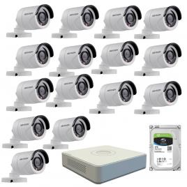 Kit de supraveghere cu 15 camere exterior hikvision turbohd ds-2ce16c0t-irpf, 1 mp, ir 20 m, 2.8 mm + dvr turbo hd hikvision ds-7116hghi-f1 n, 16 canale, 1080n+ hard disk seagate skyhawk st1000vx0