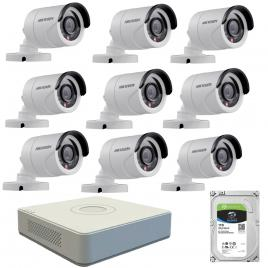 Kit de supraveghere cu 9 camere exterior hikvision turbohd ds-2ce16c0t-irpf, 1 mp, ir 20 m, 2.8 mm + dvr turbo hd hikvision ds-7116hghi-f1 n, 16 canale, 1080n+ hard disk seagate skyhawk st1000vx0