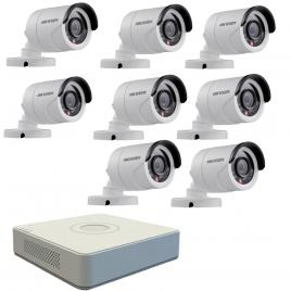 Kit format din  8 camere exterior hikvision turbohd ds-2ce16c0t-irpf, 1 mp, ir 20 m, 2.8 mm + dvr turbo hd hikvision 3.0 ds-7108hghi-f1, 8 canale, 1080 n
