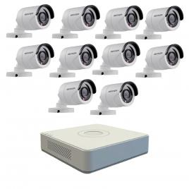 Kit format din 10 camere exterior hikvision turbohd ds-2ce16c0t-irpf, 1 mp, ir 20 m, 2.8 mm + dvr turbo hd hikvision ds-7116hghi-f1 n, 16 canale, 1080n