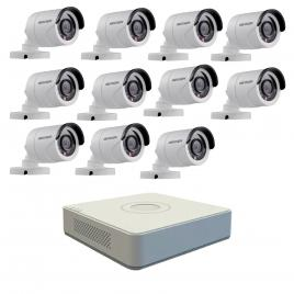 Kit format din 11 camere exterior hikvision turbohd ds-2ce16c0t-irpf, 1 mp, ir 20 m, 2.8 mm + dvr turbo hd hikvision ds-7116hghi-f1 n, 16 canale, 1080n