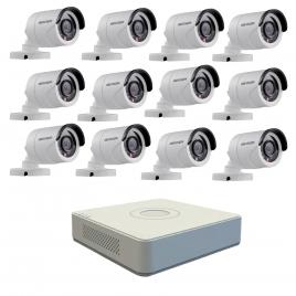Kit format din 12 camere exterior hikvision turbohd ds-2ce16c0t-irpf, 1 mp, ir 20 m, 2.8 mm + dvr turbo hd hikvision ds-7116hghi-f1 n, 16 canale, 1080n