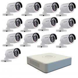 Kit format din 13 camere exterior hikvision turbohd ds-2ce16c0t-irpf, 1 mp, ir 20 m, 2.8 mm + dvr turbo hd hikvision ds-7116hghi-f1 n, 16 canale, 1080n