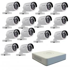 Kit format din 14 camere exterior hikvision turbohd ds-2ce16c0t-irpf, 1 mp, ir 20 m, 2.8 mm + dvr turbo hd hikvision ds-7116hghi-f1 n, 16 canale, 1080n