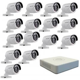 Kit format din 15 camere exterior hikvision turbohd ds-2ce16c0t-irpf, 1 mp, ir 20 m, 2.8 mm + dvr turbo hd hikvision ds-7116hghi-f1 n, 16 canale, 1080n