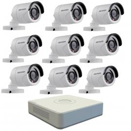 Kit format din 9 camere exterior hikvision turbohd ds-2ce16c0t-irpf, 1 mp, ir 20 m, 2.8 mm + dvr turbo hd hikvision ds-7116hghi-f1 n, 16 canale, 1080n
