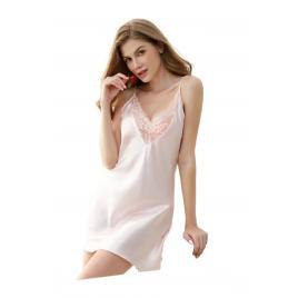 Camasa de noapte, nylon si dantela, roz, S INTL