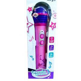 Microfon roz cu amplificare voce, 12 melodii si lumini