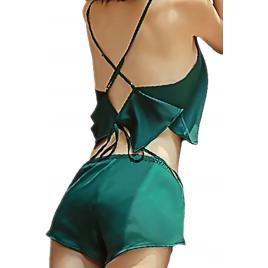 Pijama dama, bluza si boxeri, Verde, XL-2XL INTL, set 2 piese