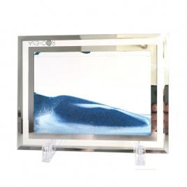 Rama foto cu nisp Alb Albastru, Sticla cu 2 Dungi Oglinda, 22 x 17 cm