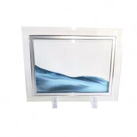 Rama foto cu nisp Alb Albastru, Sticla cu Dunga Oglinda, 22 x 17 cm