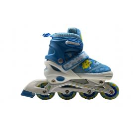 Role copii reglabile, Jinpeng Skates cu lumini led, Sistem de fixare 3 in 1, M (Marimea 34-37), Albastru