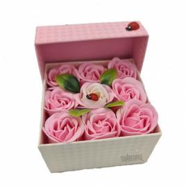 Aranjament floral 9 trandafiri sapun in cutie, alb, roz