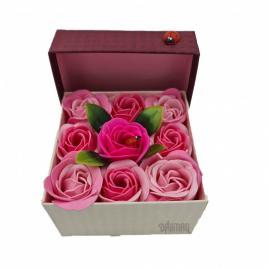 Aranjament floral 9 trandafiri sapun in cutie, roz, rosu