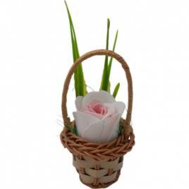 Aranjament floral deosebit 1 trandafiri cosulet, flori de sapun,