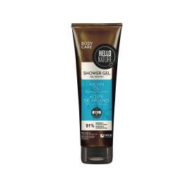 Gel de dus bio hello nature cu ulei bio de argan pentru netezirea si hidratarea pielii 250 ml cod 1541