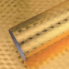 Tapet protector autoadeziv, din aluminiu, pentru bucatarie, 61x300cm, gold