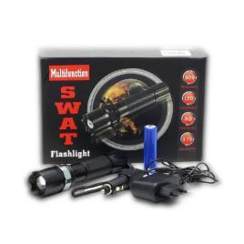 Lanterna led swat, 3w, dur aluminiu, reincarcabila cu acumulator + incarcare...