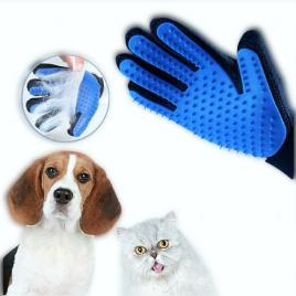 Manusa ingrijire caini si pisici, masaj si periere, mana dreapta, negru-albastru