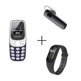 Mini telefon + casca bluetooth + bratara fitness