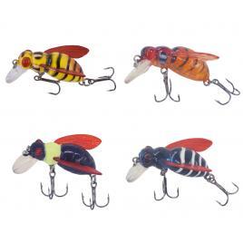 Set 4 albine pentru pescuitul cleanului, voblere insecte clean, voblere albina pescuit clean