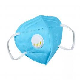 Masca de protectie cu 5 straturi si Valva respiratorie, standard KN95, culoare Albastru, ambalata individual