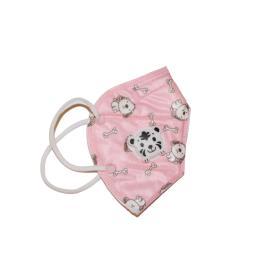 Masca faciala pentru copii cu 5 straturi si supapa, ambalata individual, model roz cu catelusi