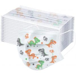 Pachet 10 cutii de 50 de masti de protectie pentru copii, 3 straturi, 3 pliuri, OEM