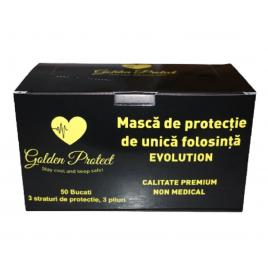 Set  50 de masti protectie negre premium Evolution Golden Protect, 3 straturi,  3 pliuri de unica folosinta, negre, OEM
