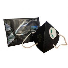 Set de 5 masti de protectie negru premium,  standard  FFP2/KN95 din 5 straturi cu valva de expiratie , CE 0370