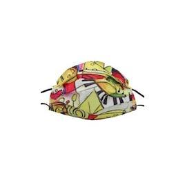 Set de 50 de masti faciale de unica folosinta, model multicolor cu print modern pe nuante de galben