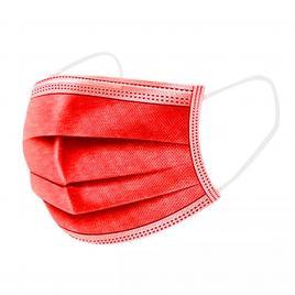 Set de 50 de masti protectie, culoare rosu , 3 straturi,  3 pliuri de unica folosinta, OEM