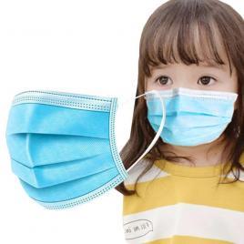 Set 50 de masti medicale mini pentru copii, avizate, BFE ≥95%, culoare albastra