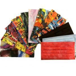Set de 12 cutii a cate 50 de masti faciale de unica folosinta, diverse modele multicolore fashion