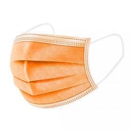 Set de 50 de masti protectie , 3 straturi,  3 pliuri de unica folosinta, portocaliu, OEM