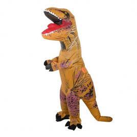 Costum gonflabil, model dinozaur din poliester, maro